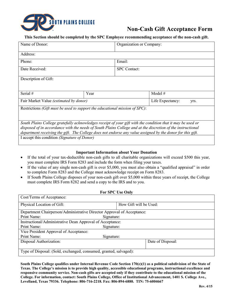 Non-Cash Gift Acceptance Form