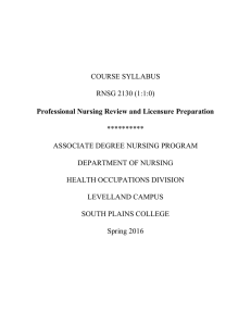 Professional Nursing Review and Licensure Preparation COURSE SYLLABUS RNSG 2130 (1:1:0)