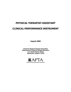 PHYSICAL THERAPIST ASSISTANT CLINICAL PERFORMANCE INSTRUMENT August 2009