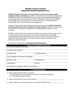RECODE at Ryerson University Spring 2016 Research Application Form