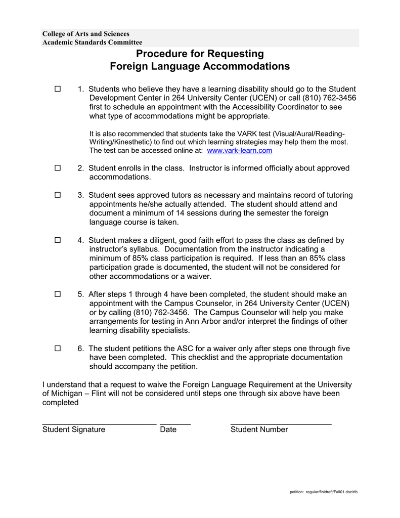 Procedure for Requesting Foreign Language Accommodations