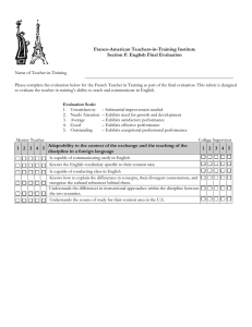 Franco-American Teachers-in-Training Institute Section F: English Final Evaluation