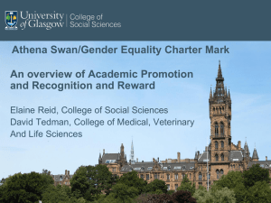 Athena Swan/Gender Equality Charter Mark An overview of Academic Promotion
