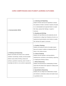 CORE COMPETENCIES AND STUDENT LEARNING OUTCOMES a. Listening and Speaking