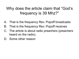 "Why does the article claim that ""God's frequency is 39 Mhz?"""