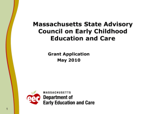 Massachusetts State Advisory Council on Early Childhood Education and Care Grant Application