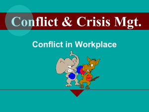 Conflict & Crisis Mgt. Conflict in Workplace