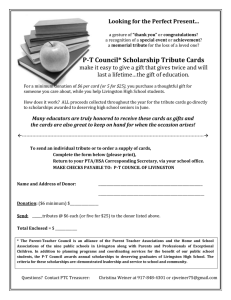 P-T Council* Scholarship Tribute Cards Looking for the Perfect Present...