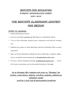 THE BOXTOPS CLASSROOM CONTEST HAS BEGUN! BOXTOPS FOR EDUCATION PARENT INFORMATION SHEET