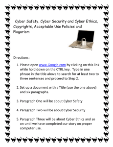 Cyber Safety, Cyber Security and Cyber Ethics, Plagarism