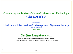 "Dr. Jim Langabeer, ""The ROI of IT"""