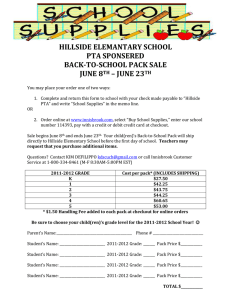 HILLSIDE ELEMANTARY SCHOOL PTA SPONSERED BACK-TO-SCHOOL PACK SALE