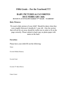 Fifth Grade – For the Yearbook!!!!!!  BABY PICTURES & FAVORITES