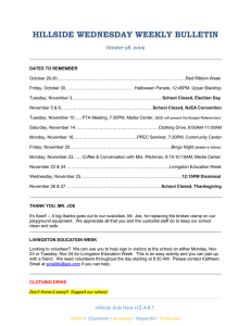 HILLSIDE WEDNESDAY WEEKLY BULLETIN October 28, 2009