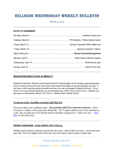 HILLSIDE WEDNESDAY WEEKLY BULLETIN March 3, 2010
