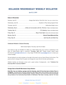 HILLSIDE WEDNESDAY WEEKLY BULLETIN April 22, 2009  Dates to Remember