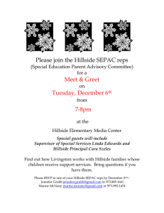 Please join the Hillside SEPAC reps  Meet & Greet Tuesday, December 6