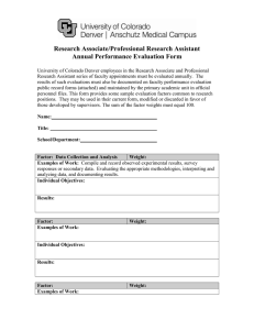 Research Associate/Professional Research Assistant Annual Performance Evaluation Form