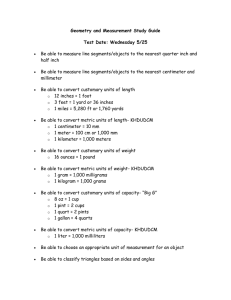 Geometry and Measurement Study Guide Test Date: Wednesday 5/25