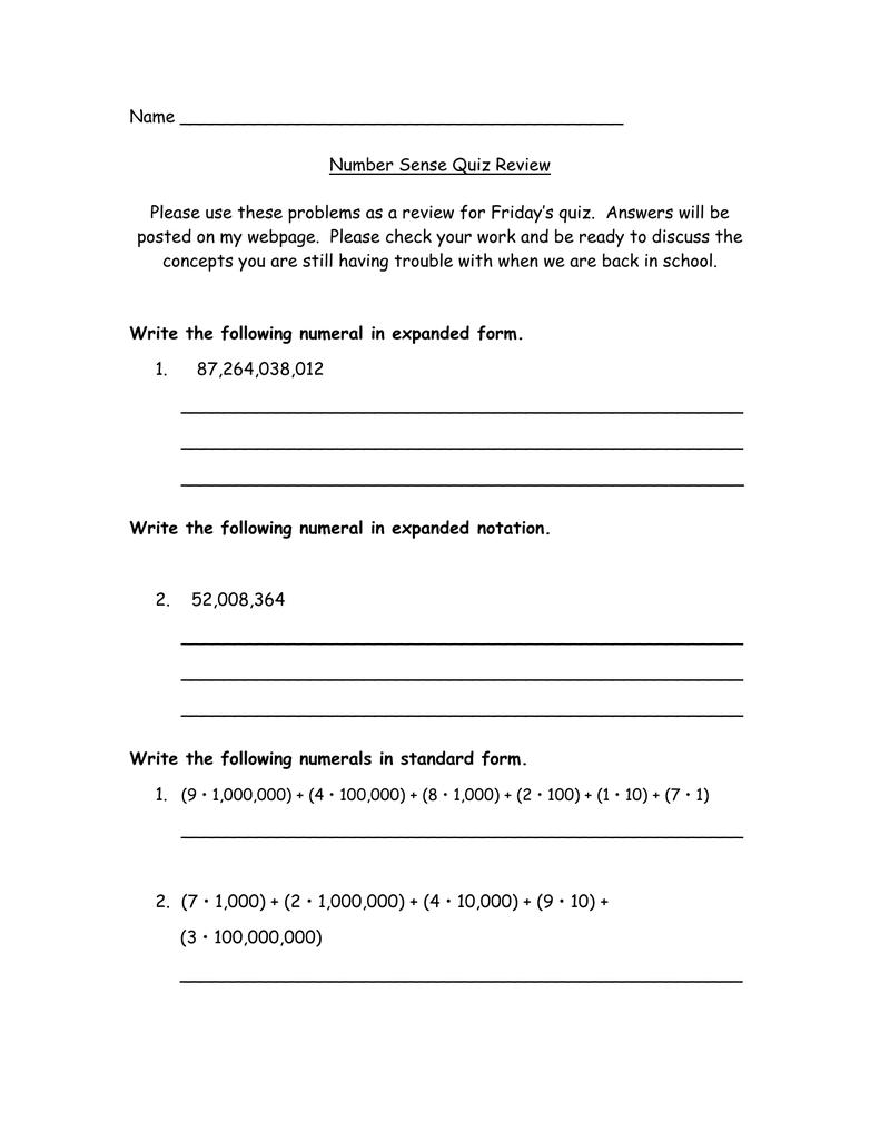 Name Number Sense Quiz Review