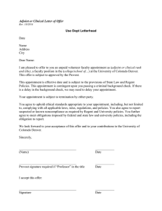 Adjoint or Clinical Letter of Offer Use Dept Letterhead  Date