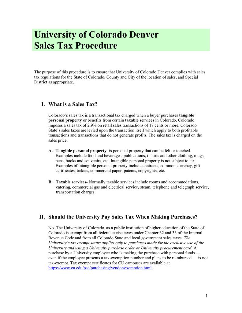 University Of Colorado Denver Sales Tax Procedure