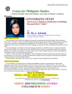 Center for Philippine Studies CONVERGING TEXTS Dr. Pia A. Arboleda