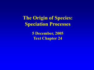 The Origin of Species: Speciation Processes 5 December, 2005 Text Chapter 24