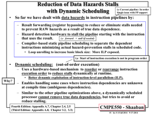 Reduction of Data Hazards Stalls with Dynamic Scheduling