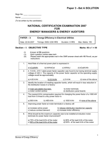 –Set A SOLUTION Paper 3 NATIONAL CERTIFICATION EXAMINATION 2007 FOR
