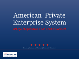 American  Private Enterprise System College of Agriculture, Food and Environment