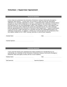 Volunteer / Supervisor Agreement