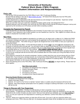University of Kentucky Federal Work Study (FWS) Program Student Information and Responsibilities