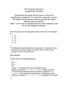 AP Computer Science A Assessment Template