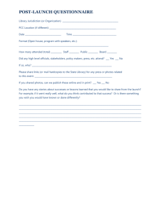 POST-LAUNCH QUESTIONNAIRE