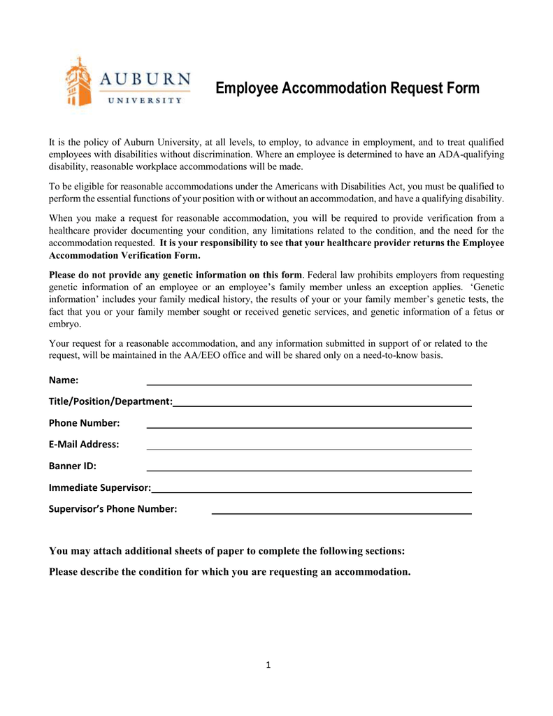 Employee Accommodation Request Form