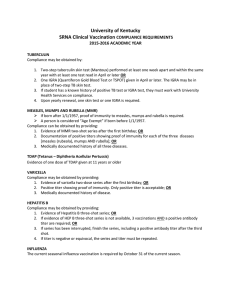 University of Kentucky SRNA Clinical Vaccination  COMPLIANCE REQUIREMENTS