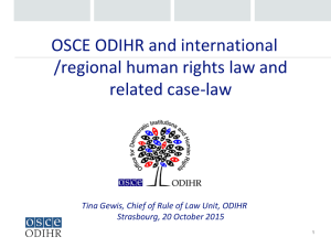 OSCE ODIHR and international /regional human rights law and related case-law