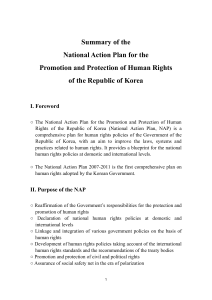 Summary of the National Action Plan for the