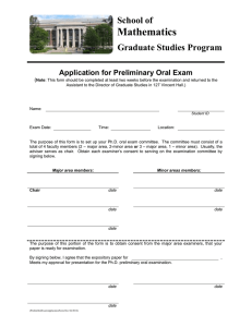 Mathematics School of Graduate Studies Program Application for Preliminary Oral Exam
