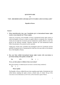 "QUESTIONNAIRE on ""NON - DISCRIMINATION AND EQUALITY IN FAMILY AND CULTURAL LIFE"""