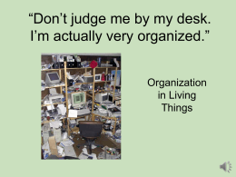 """Don't judge me by my desk. I'm actually very organized."" Organization in Living"