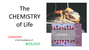 The CHEMISTRY of Life BIOLOGY