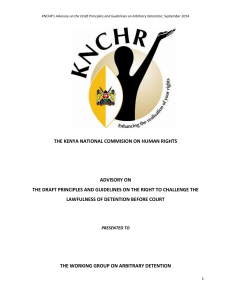 THE KENYA NATIONAL COMMISION ON HUMAN RIGHTS ADVISORY ON