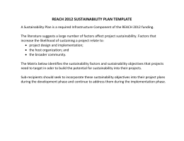 REACH 2012 SUSTAINABILITY PLAN TEMPLATE