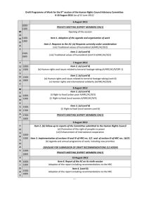 Draft Programme of Work for the 9 6-10 August 2012