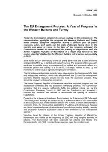 The EU Enlargement Process: A Year of Progress in IP/09/1519