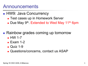 Announcements HW9: Java Concurrency Rainbow grades coming up tomorrow