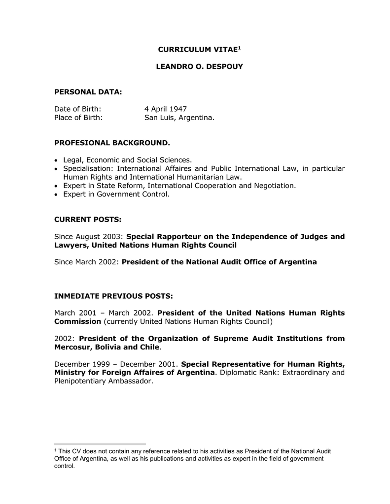 Curriculum Vitae Leandro O Despouy Personal Data