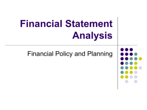 Financial Statement Analysis Financial Policy and Planning